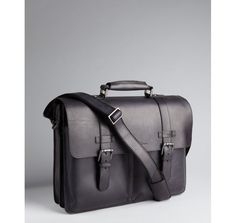 93ddc4899db CASUAL BAG-Kenneth Cole New York black structured leather buckle detail  convertible portfolio briefcase Black