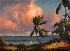 Harold Newton, River Palm, 1961, oil on Upson Board, 22 x 30 inches, Collection of Roger and Pattama Lightle