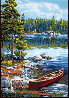 After a scenic paddle trip, a traveler's canoe rests on the rocky edge of a crystal clear lake. From Works, Canoe by the Lake paint by number l… Painting Digital, Paint By Number Kits, Paint By Number Vintage, Texture Art, Amazon Art, Art Boards, Landscape Paintings, Abstract Landscape, Drawings