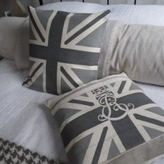 Handprinted Grey Union Jack Cushions From Helkatdesign