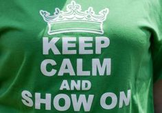"Our most popular #LifeOfAShowman t-shirt is now available in two colors! ""Keep Calm and Show On"" with crown on the front, and #LifeOfAShowman on the back. Hurry and order yours before we sell out again!     The lime green shown is no longer available. Now available in Irish Green (John Deere/4-H green). Repin to be entered to win one of four $50 gift certificates during our Five Year Anniversary Celebration in July 2014."