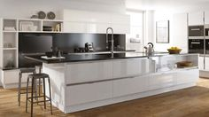 The Sheraton Mattonella, from Leekes, makes a statement at the heart of any modern home due to its sharp design and clean lines. Gloss White kitchen finish.