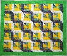 Free Tutorial: Twisted Rail Fence Quilt Block at www.favequilts.com