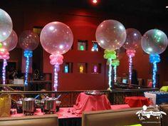 Balloon centerpieces with lighting. #balloon #centerpiece #lighting #balloon #decor #lighting #balloon #decoration #lighting