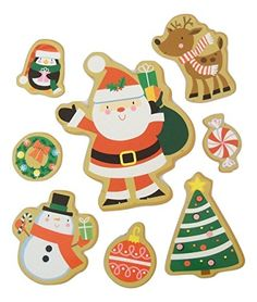 Christmas Reusable Glitter Window Clings  Santa Friends Gingerbread Cookies 8 Precut Clings 1 Sheet * Click image to review more details. (This is an affiliate link) Window Clings, Kids Party Supplies, Gingerbread Cookies, Santa, Glitter, Friends, Link, Christmas, Image