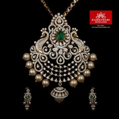 Buy Pendant Set Online Diamond Mayurika Pendant Set from Kameswari Jewellers Art Nouveau, Aquamarine Jewelry, Diamond Jewelry, Gold Jewellery Design, Silver Jewellery, Pearl Jewelry, Indian Jewelry, Pendant Set, Gold Pendant
