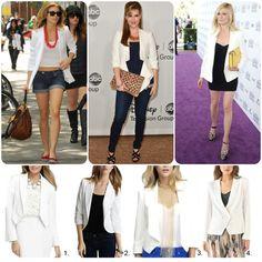 White blazer trend what to wear AnnaLynne Mccord, Sara Rue, Kirsten Dunst