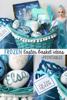 So, this is all happening :) Disney's FROZEN Elsa Easter Basket ideas - Awesome for a little girl!