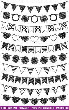 Doodle Bunting Clipart Clip Art, Doodle Flags Ribbons Banners Clipart Clip Art - Commercial and Personal Use. $6.00, via Etsy.