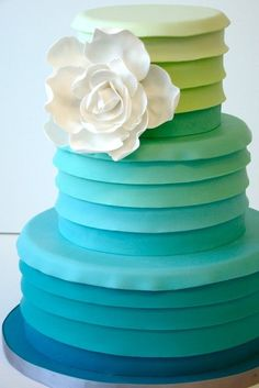 Ombre Pleated Cake- tedious looking (mixing fondant colors takes a ridiculous amount of time sometimes), but so pretty and unique.