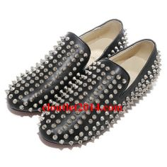 Discount Christian Louboutin Rollerboy Spikes Loafers Flats Blac