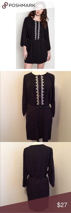 """Black dress Black dress S- L: 34"""" B: 38"""" M- L: 36"""" B: 40"""" L- L: 36"""" B: 42"""" Materials- 65% cotton/ 35% polyester. This dress has no stretch to it. The front has a button closure. Belt included!  NWT. Brand new with tags. Availability- S•M•L • 2•2•0 No tradesPrice is firm unless bundled  Dresses Long Sleeve"""