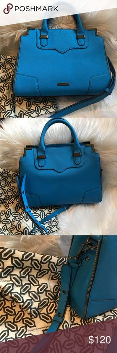 """Stunning Rebecca Minkoff Cobalt Amourous Satchel Stunning Cobalt blue handbag is sure to turn heads! 10.5"""" W x 8.5"""" H x 4.5"""" D x 3.5"""" handle drop! 21"""" cross body detachable strap with gunmetal hardware. This bag is bold in color and style with gunmetal accents in the zippers and hardware! In great condition, some light scratches near the handles on the metal as shown in the picture. Open to offers! Ready for a good home! Dust bag included! Rebecca Minkoff Bags Crossbody Bags"""