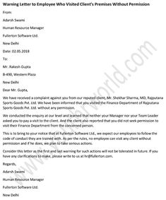 Warning #Letter To Employee Who Visited Client's Premises Without Permission - sample #Warning Letter format