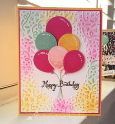 Bright sunny birthday card using stampin up balloon celebration balloon bouquet punch confetti texture impressions embossing folder/Balloon Celebratioin Bday Cards, Kids Birthday Cards, Handmade Birthday Cards, Up Balloons, Birthday Balloons, Embossed Cards, Embossed Paper, Making Greeting Cards, Stamping Up Cards
