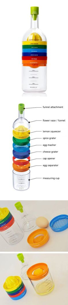 8-in-1 kitchen kit - funnel, grater, cap opener, measuring cup, and more! +