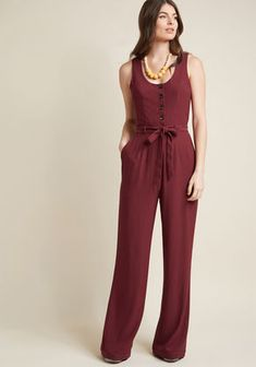 ModCloth Buttoned Tailored Wide-Leg Jumpsuit in Burgundy Burgundy Rompers Women, Jumpsuits For Women, Fashion Jumpsuits, Burgundy Jumpsuit, Belle Silhouette, Jumpsuit Outfit, Sequin Jumpsuit, Overall, Modcloth