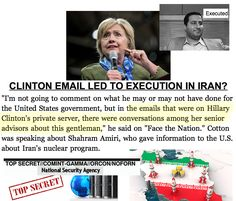 """""""Hillary Clinton recklessly discussed, in emails hosted on her private server, an Iranian nuclear scientist who was executed by Iran for treason""""  http://www.washingtonexaminer.com/cotton-clinton-discussed-executed-iranian-scientist-on-email/article/2598807   #HillaryClinton #PrivateServer #IranianScientist #Executed"""