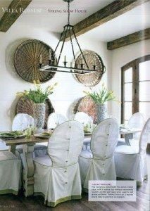 dining chair slipcovers and love the baskets on the wall