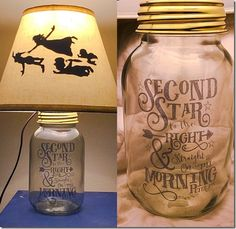 Peter Pan Silhouette Mason Jar Lamp by PracPerfCrafts on Etsy Adorable Peter Pan lamp from Practically Perfect Crafts on etsy. Disney Diy, Deco Disney, Disney Crafts, Disney Lamp, Mason Jar Crafts, Mason Jar Lamp, Pot Mason, Cadeau Disney, Peter Pan Silhouette