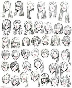 Ideas for hair art reference anime girls - Manga Hair - ideas anime Anime Drawings Sketches, Cool Art Drawings, Anime Eyes Drawing, Easy Hair Drawings, Female Drawing, Girl Drawings, Female Art, Girl Hair Drawing, Hair Styles Drawing