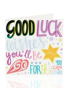Buy the Bright Letters Good Luck Greetings Card from Marks and Spencer's range.