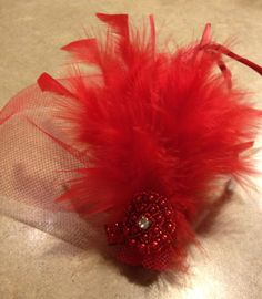 Red Feather Fascinator  Red Hat Society  Youth by PinkPosieCouture, $25.00