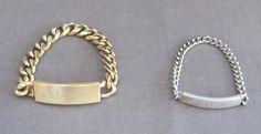ID bracelets....In 8th grade we exchanged them with boyfriends. 1955. I still have mine somewhere.