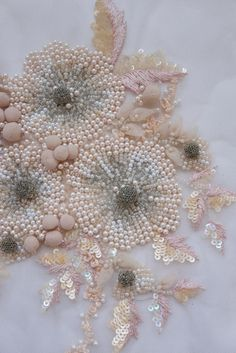 Hand Embroidered Motif with tule balls and pearls image 1 Bead Embroidery Patterns, Hand Work Embroidery, Couture Embroidery, Hardanger Embroidery, Hand Embroidery Stitches, Silk Ribbon Embroidery, Hand Embroidery Designs, Embroidery Techniques, Tambour Beading
