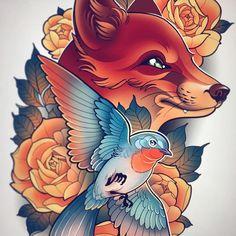 🦊🐦 Please dm me if you'd like something similar! Traditional Tattoo Animals, Neo Traditional Art, Traditional Tattoo Design, Traditional Tattoos, Sketch Tattoo Design, Tattoo Sketches, Tattoo Drawings, Tattoo Designs, Yoga Symbole