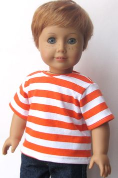 American Girl Boy Doll Clothes   Striped Tee by Minipparel on Etsy