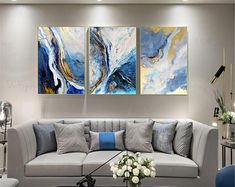 3 pieces gold art abstract painting canvas wall art pictures for living room wall decor bedroom home decor original acrylic blue texture Wall Decor Pictures, Living Room Pictures, Hallway Wall Decor, Diy Wall, Living Room Wall Decor, Canvas Wall Art, Painting Canvas, Blue Canvas, 3 Piece Wall Art