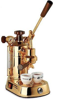 La Pavoni Professional espresso cappuccino lever machines - Gold, rosewood handgrips $1,160.00 #Coffeetime