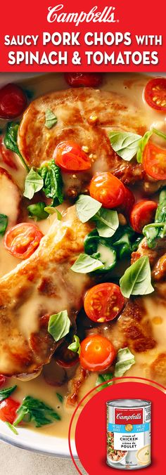 Saucy Pork Chops with Spinach and Tomatoes Recipe Spinach Tomato Recipe, Spinach Recipes, Slow Cooker Recipes, Cooking Recipes, Healthy Recipes, Pork Chop Recipes, Chicken Recipes, Campbells Soup Recipes, Chops Recipe