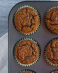 Gluten-free carrot-flax muffins are packed with nutrients from carrots, apples, and homemade flax seed meal.