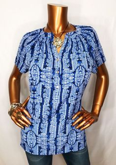 Dana Buchman Women L Top Blouse Multi-Color Short Sl 1/2 Golden Buttons W/ Logo  | eBay