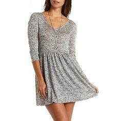 Marled Sweater Knit Babydoll Dress: Charlotte Russe