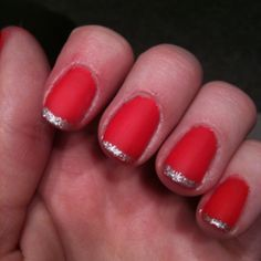 My nails I just did coral matte with silver glitter tips!!