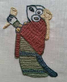 embroidered Valkyrie Bayeux stitch