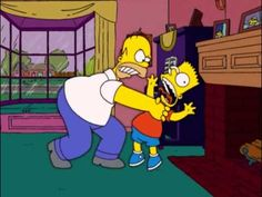 Homer strangles bart, and so through observational learning, he too will do it. Funny Cartoon Characters, Cartoon Pics, Fictional Characters, Homer Simpson, Lisa Simpson, Ap Psych, Tv Funny, Fathers Love, Rage