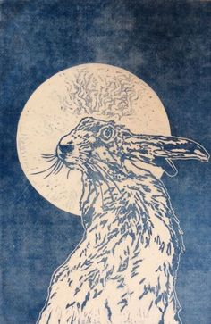 ARTFINDER: La Lune by Sarah Cemmick - Mr hare keeps a watchful eye while the full moon lights the way