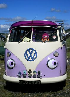 purple vw bus -