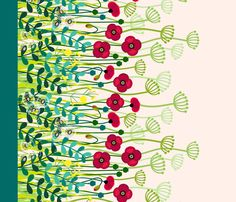 meadow flowers poppy border - single large fabric by coggon_(roz_robinson) on Spoonflower - custom fabric