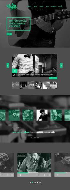 Unique Web Design, Virgult #WebDesign #Design (http://www.pinterest.com/aldenchong/) ________________________ Great choice of color. The B & W images work well with the cool green.. If you like UX, design, or design thinking, check out theuxblog.com
