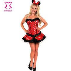 Lolita Red/White Polka Dot Sexy Fancy Corset Dress Mouse Mascot Anime Cosplay Costume Carnevale Woman Adult Costumes Halloween