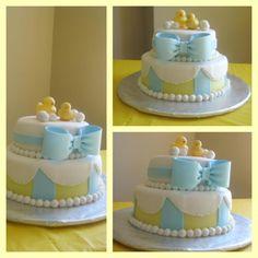 Rubber ducky boy baby shower cake