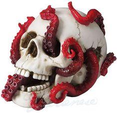 Nemesis Now Devoured Skull Tentacle Octopus Deep Gothic Home Gift Decor Figurine Skull Decor, Skull Art, Animal Sculptures, Sculpture Art, Octopus, Skull Crafts, Small Skull, Skull Painting, Human Skull