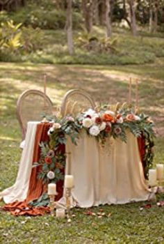 Head Table Decor, Wedding Ceremony Decorations, Deco Table, Fall Wedding Centerpieces, Wedding Table Garland, Fall Wedding Table Decor, Vintage Centerpiece Wedding, Woods Wedding Ideas, Sweet Heart Table Wedding