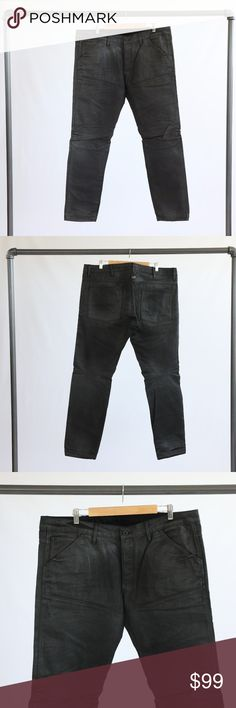 "Black G-Star Jeans G-Star coated-black denim jeans. 34"" inseam on the pants. G-Star Jeans"