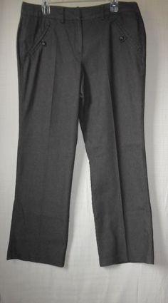 "Larry Levine Women's Pants Stretch Size 14 Brown Pinstripe Casual Inseam 30.5""  #LarryLevine #CasualPants"